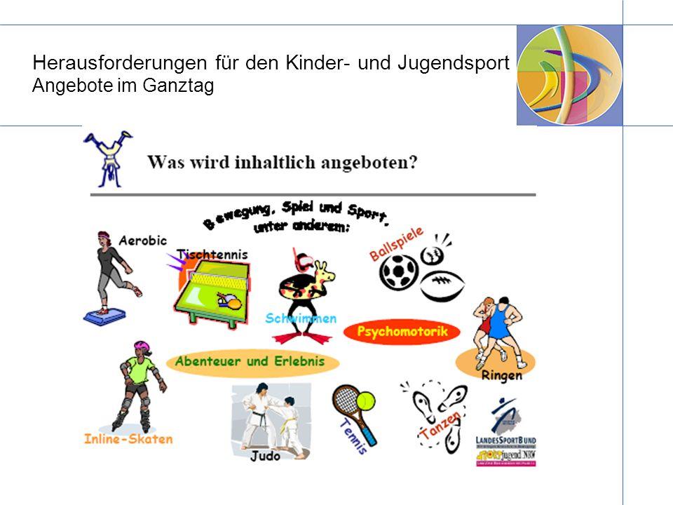Herausforderungen für den Kinder- und Jugendsport Angebote im Ganztag
