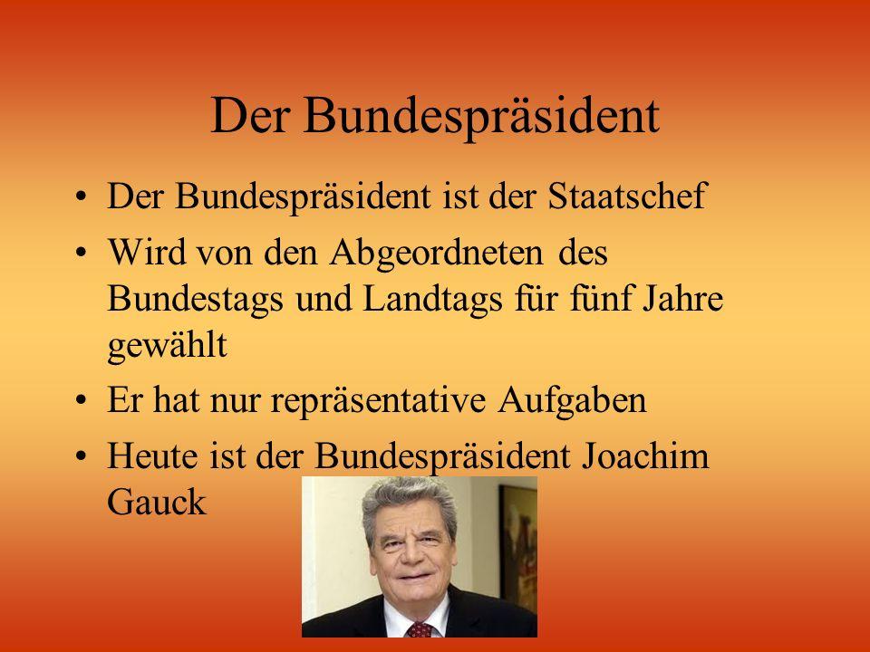 Der Bundespräsident Der Bundespräsident ist der Staatschef