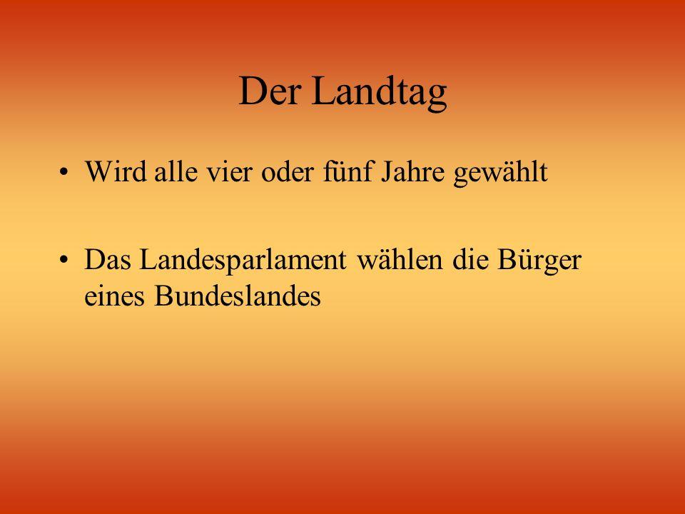 Der Landtag Wird alle vier oder fünf Jahre gewählt