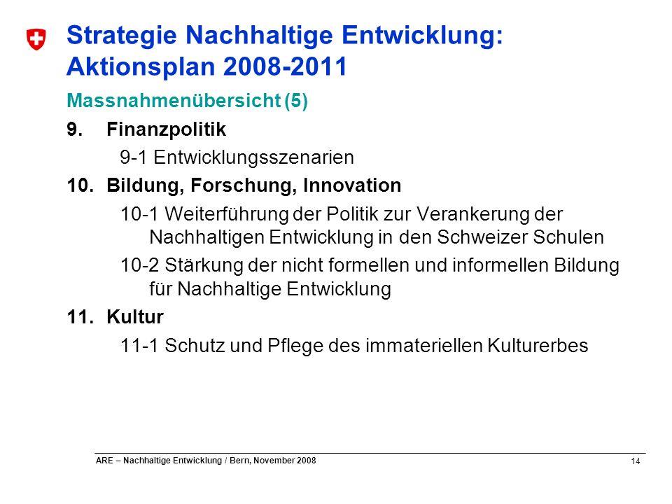 Strategie Nachhaltige Entwicklung: Aktionsplan 2008-2011