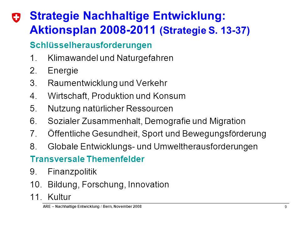Strategie Nachhaltige Entwicklung: Aktionsplan 2008-2011 (Strategie S
