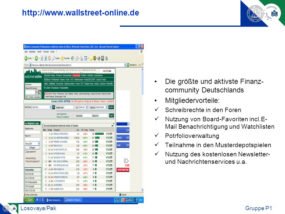 http://www.wallstreet-online.de Die größte und aktivste Finanz- community Deutschlands. Mitgliedervorteile: