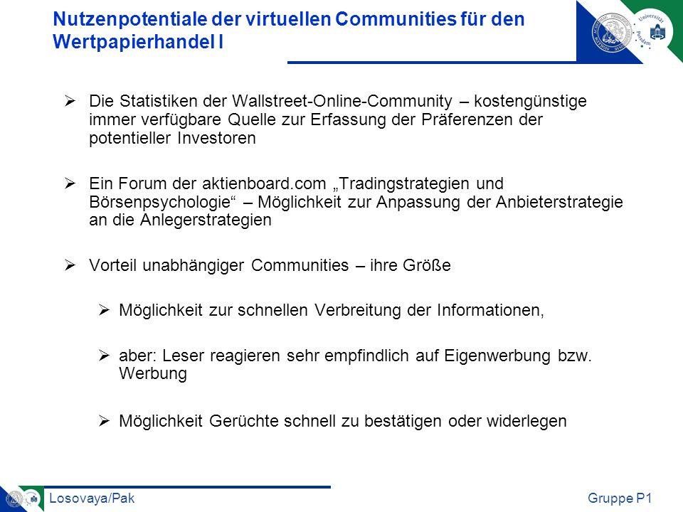 Nutzenpotentiale der virtuellen Communities für den Wertpapierhandel I