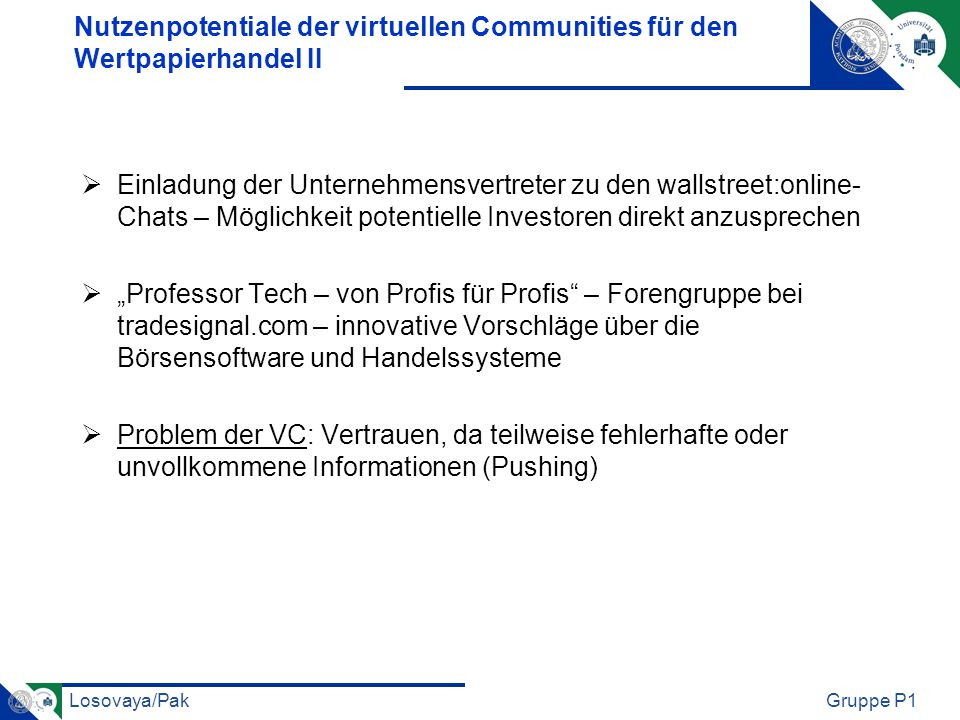 Nutzenpotentiale der virtuellen Communities für den Wertpapierhandel II