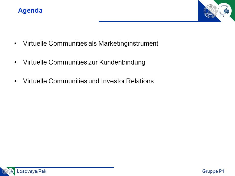 Agenda Virtuelle Communities als Marketinginstrument.