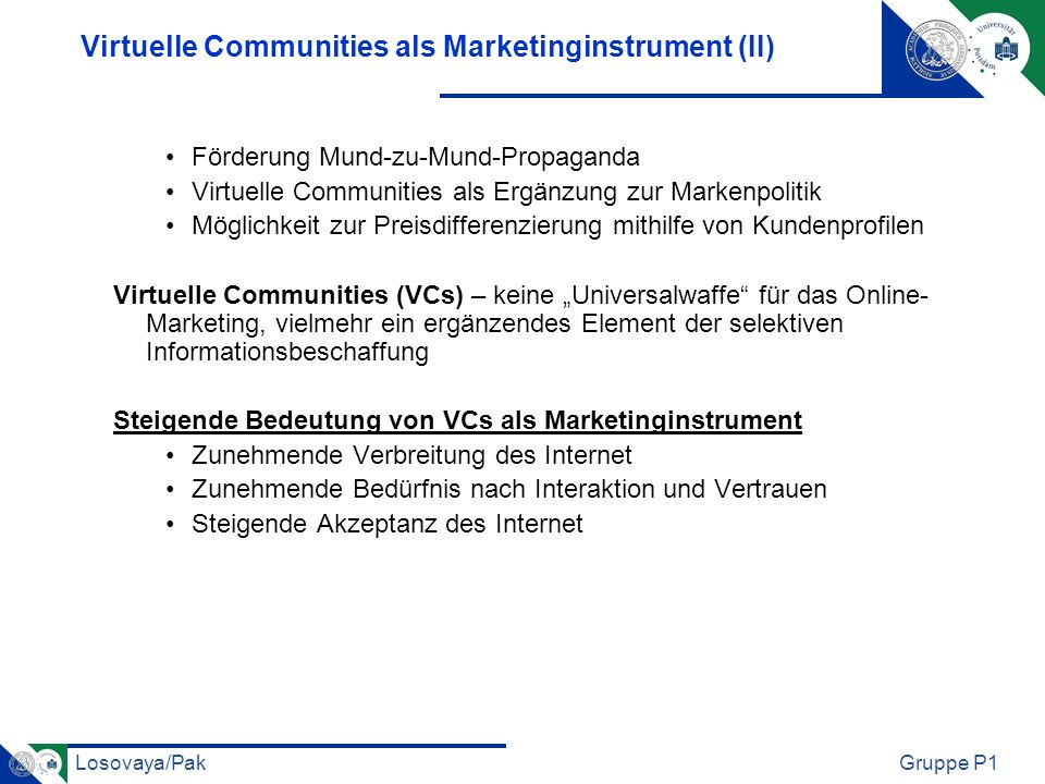 Virtuelle Communities als Marketinginstrument (II)
