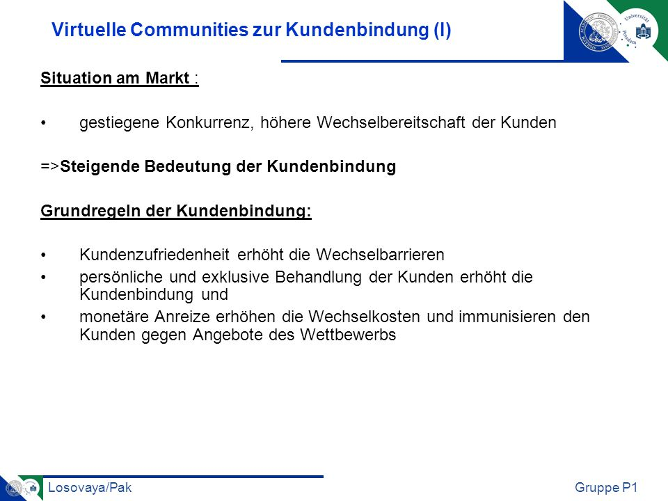 Virtuelle Communities zur Kundenbindung (I)