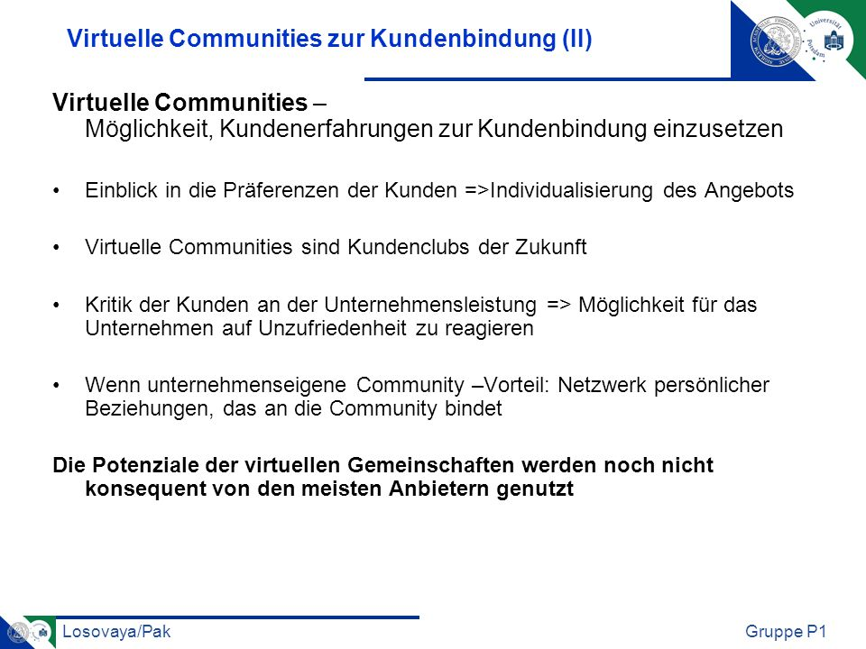 Virtuelle Communities zur Kundenbindung (II)