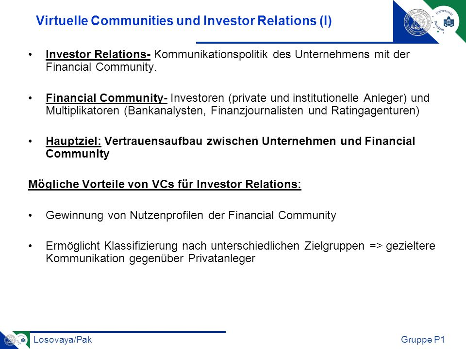 Virtuelle Communities und Investor Relations (I)