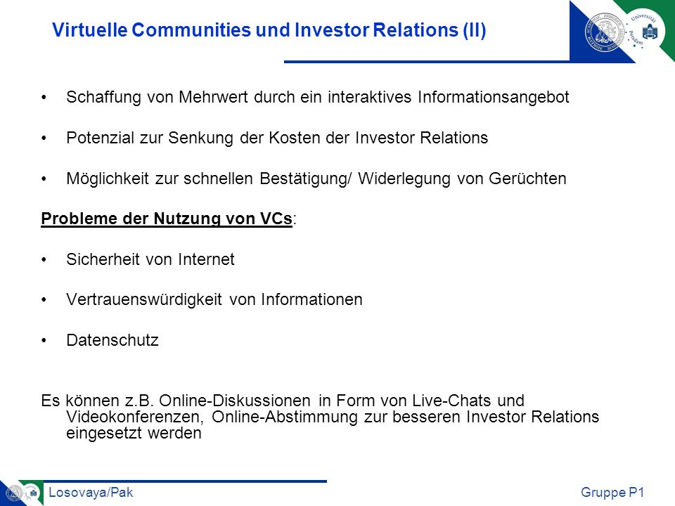 Virtuelle Communities und Investor Relations (II)