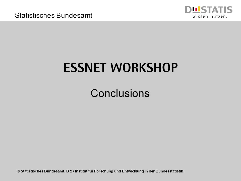 ESSnet Workshop Conclusions