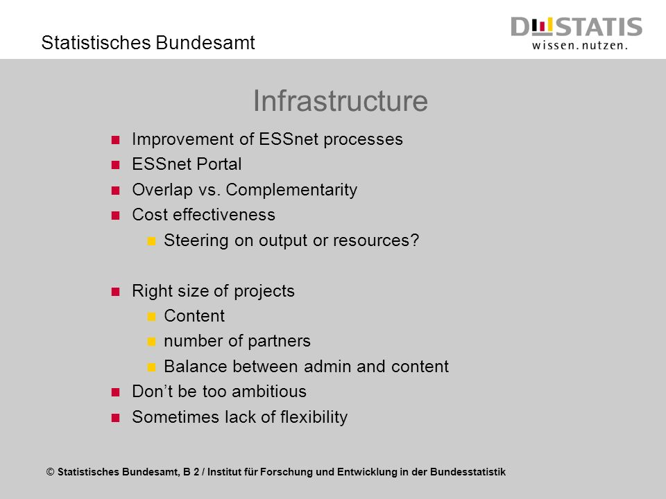 Infrastructure Improvement of ESSnet processes ESSnet Portal