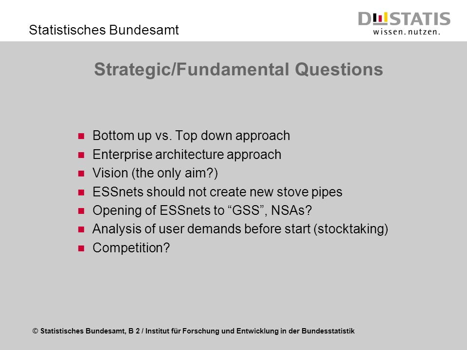 Strategic/Fundamental Questions
