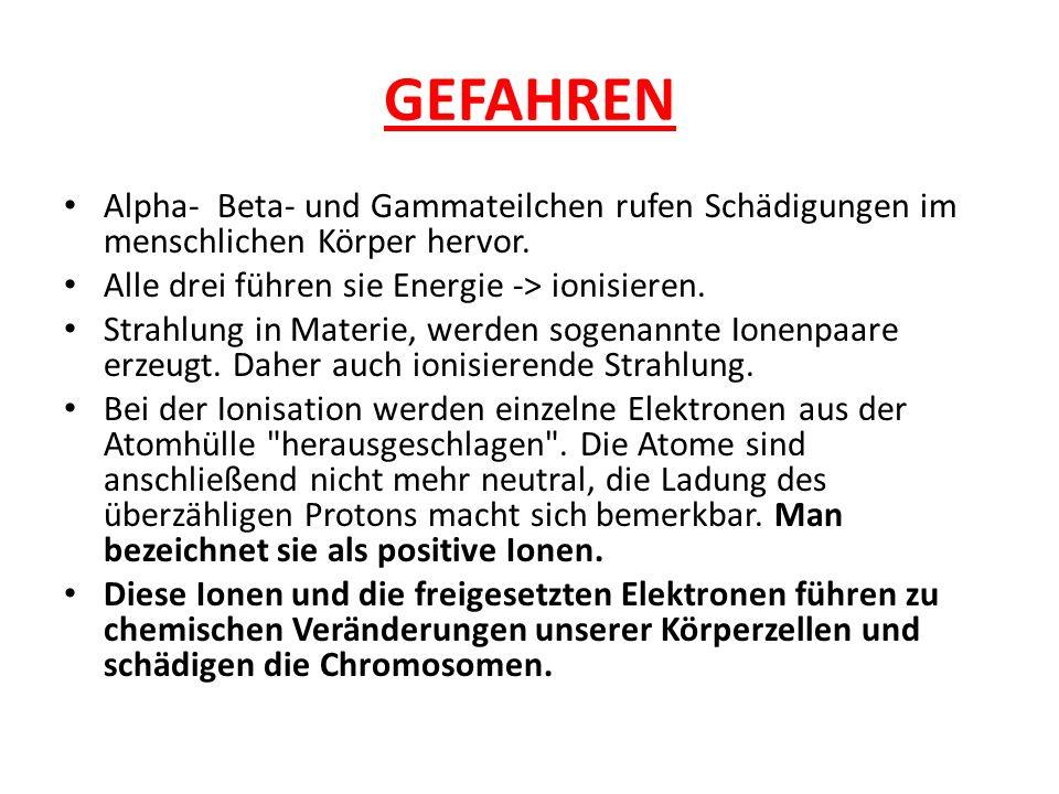 GEFAHREN Alpha- Beta- und Gammateilchen rufen Schädigungen im menschlichen Körper hervor. Alle drei führen sie Energie -> ionisieren.