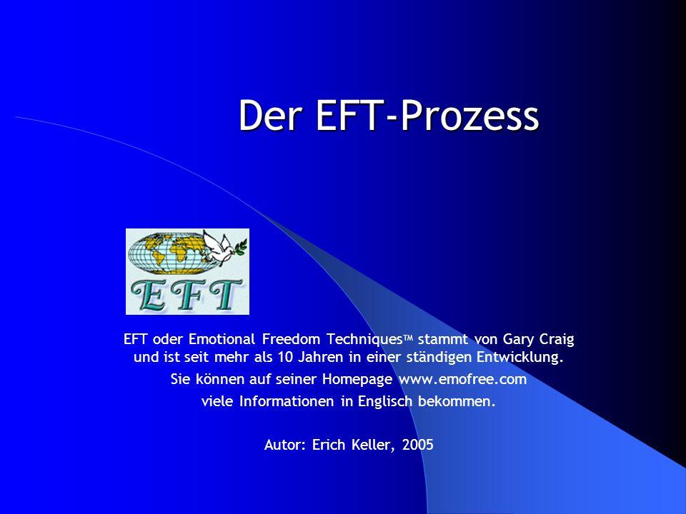 Der EFT-Prozess EFT oder Emotional Freedom TechniquesTM stammt von Gary Craig und ist seit mehr als 10 Jahren in einer ständigen Entwicklung.