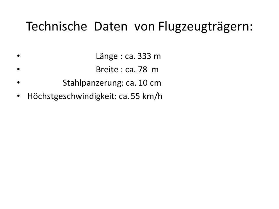 Technische Daten von Flugzeugträgern: