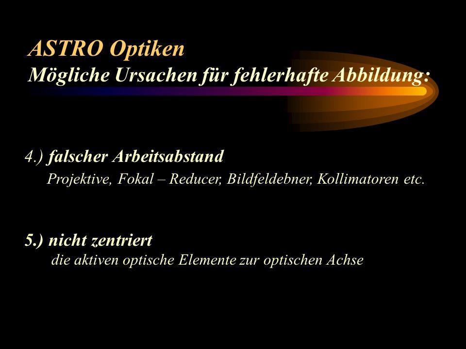 ASTRO Optiken Mögliche Ursachen für fehlerhafte Abbildung: