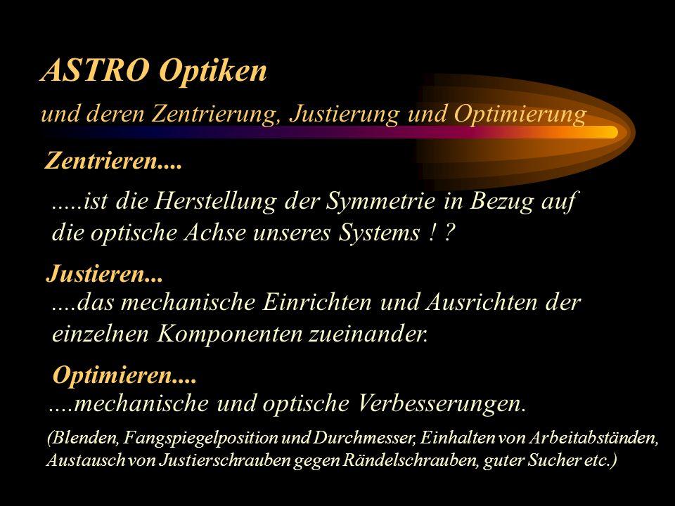ASTRO Optiken und deren Zentrierung, Justierung und Optimierung