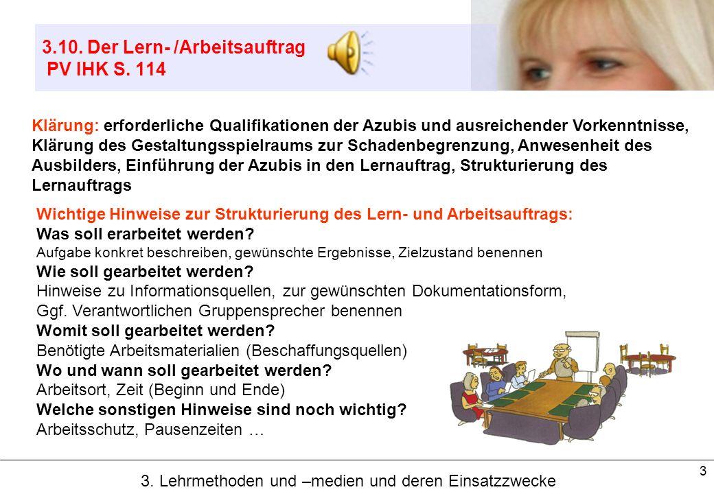 3.10. Der Lern- /Arbeitsauftrag PV IHK S. 114