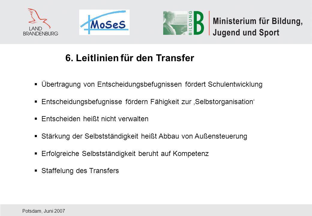 6. Leitlinien für den Transfer