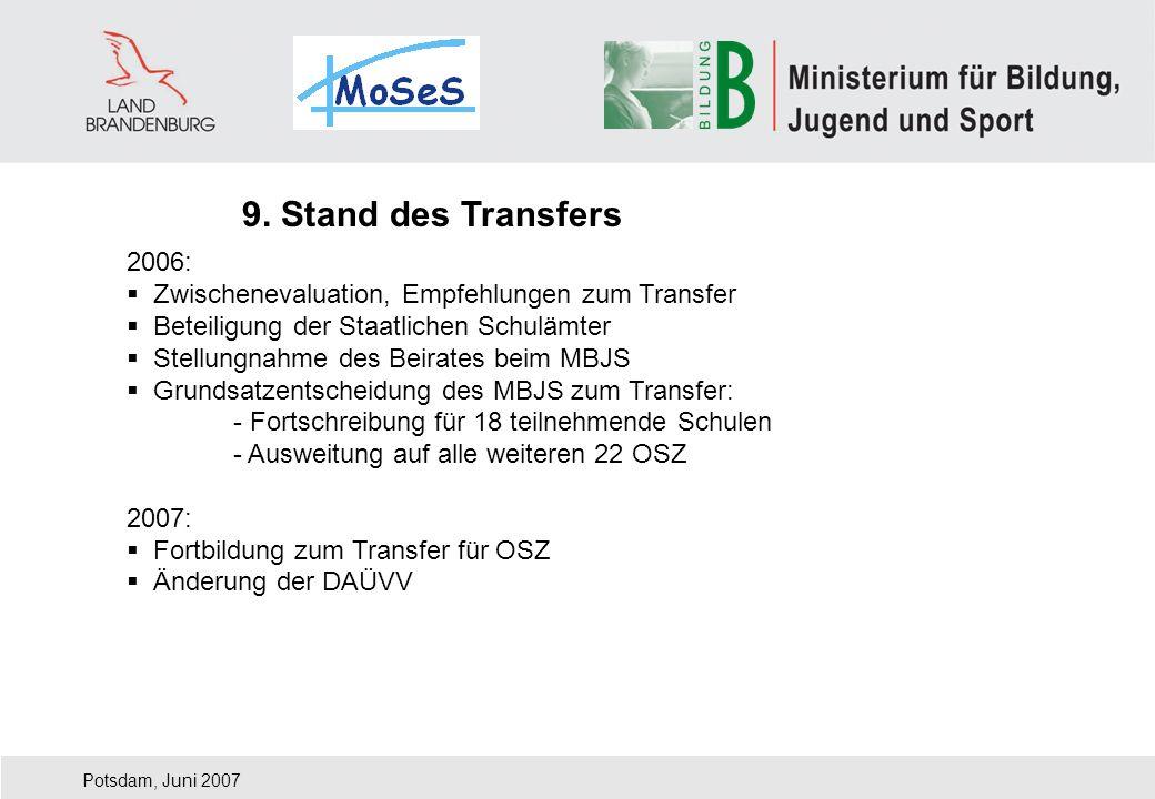9. Stand des Transfers 2006: Zwischenevaluation, Empfehlungen zum Transfer. Beteiligung der Staatlichen Schulämter.