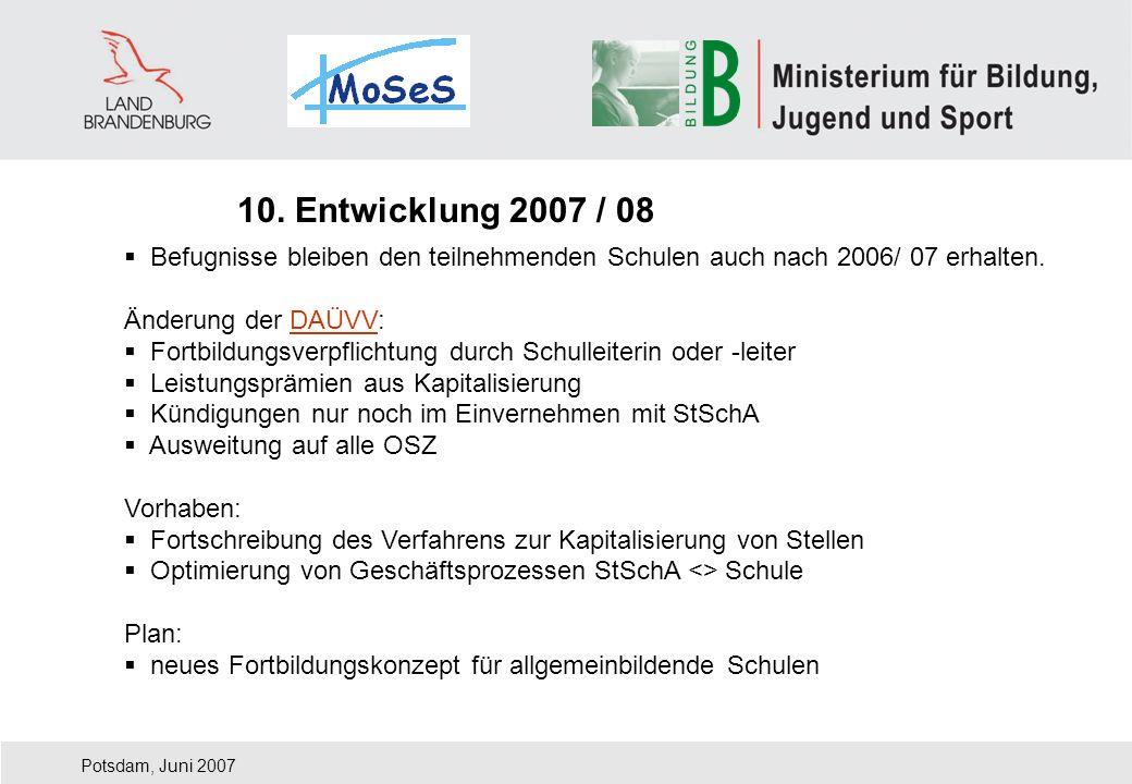 10. Entwicklung 2007 / 08 Befugnisse bleiben den teilnehmenden Schulen auch nach 2006/ 07 erhalten.