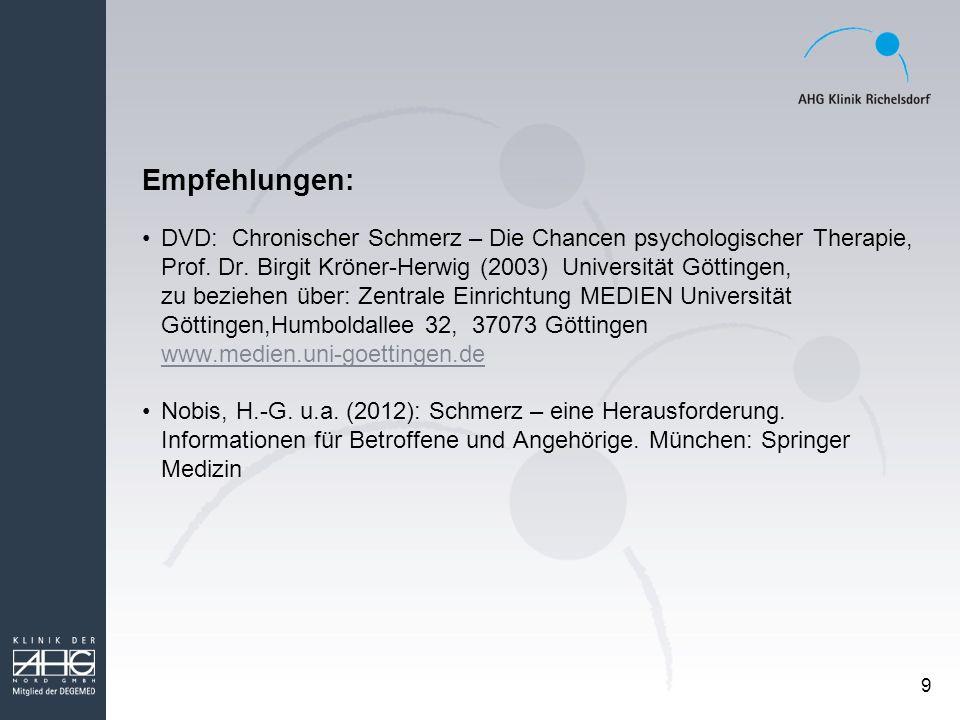 Empfehlungen: DVD: Chronischer Schmerz – Die Chancen psychologischer Therapie, Prof. Dr. Birgit Kröner-Herwig (2003) Universität Göttingen,