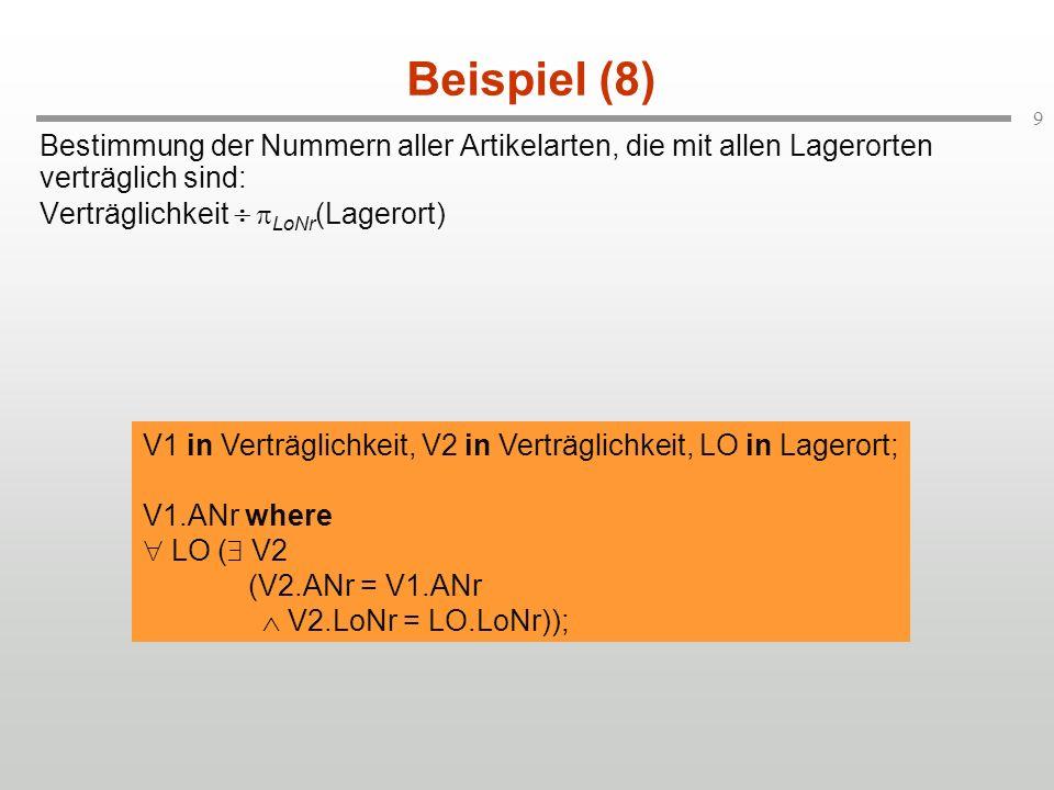 Beispiel (8) Bestimmung der Nummern aller Artikelarten, die mit allen Lagerorten verträglich sind: Verträglichkeit ¸ LoNr(Lagerort)