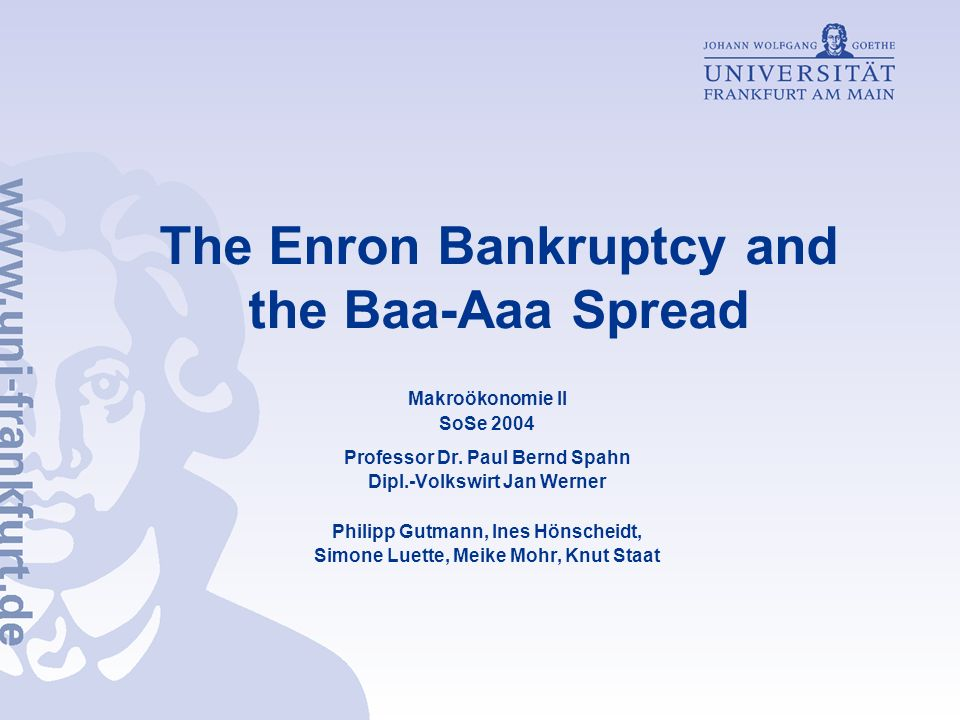 The Enron Bankruptcy and the Baa-Aaa Spread