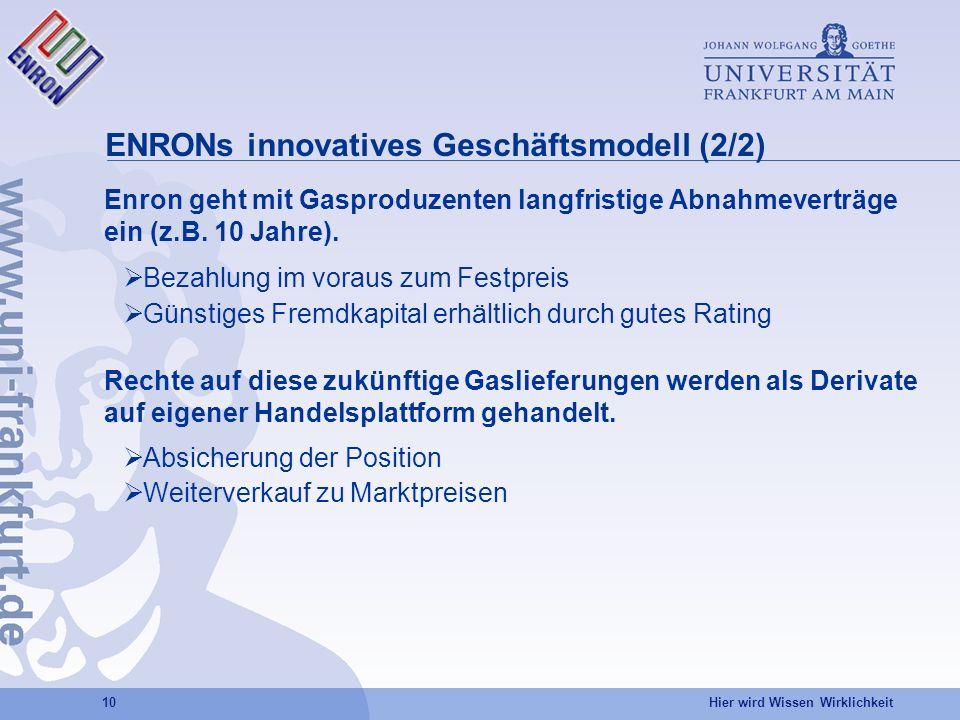 ENRONs innovatives Geschäftsmodell (2/2)