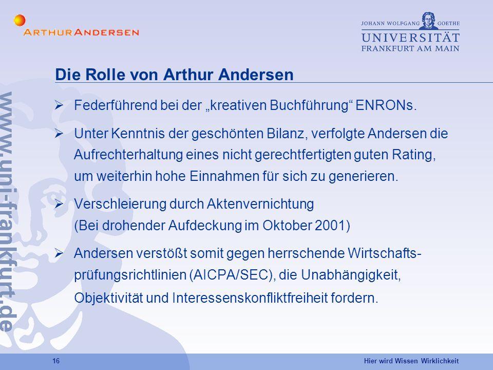 Die Rolle von Arthur Andersen