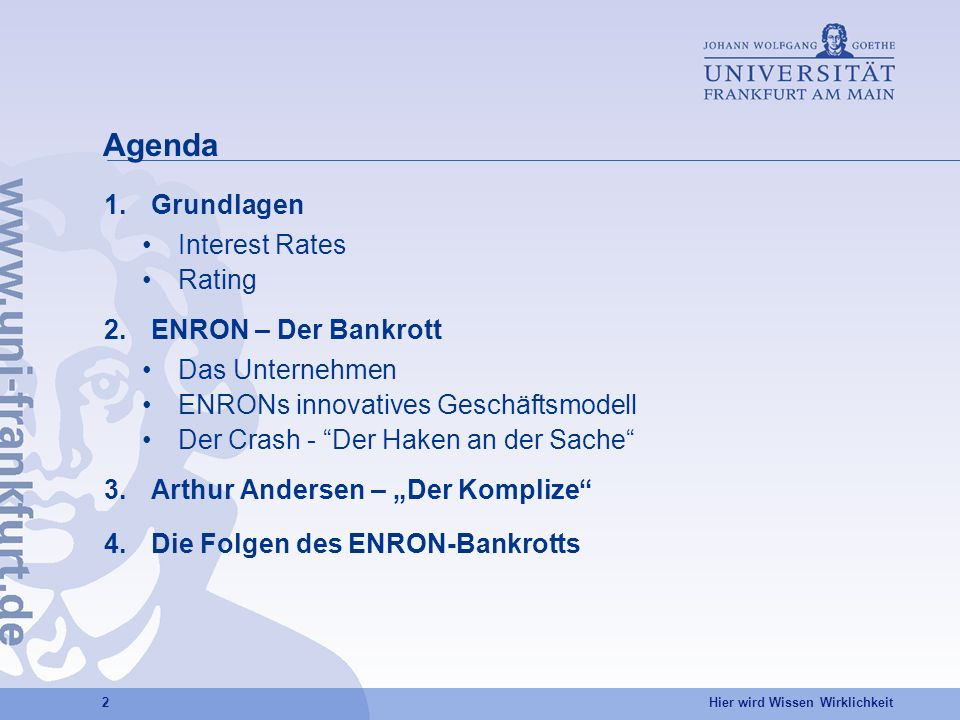 Agenda Grundlagen Interest Rates Rating ENRON – Der Bankrott