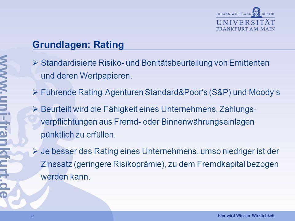 Grundlagen: Rating Standardisierte Risiko- und Bonitätsbeurteilung von Emittenten und deren Wertpapieren.