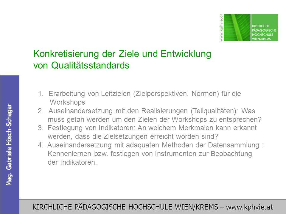 Konkretisierung der Ziele und Entwicklung von Qualitätsstandards