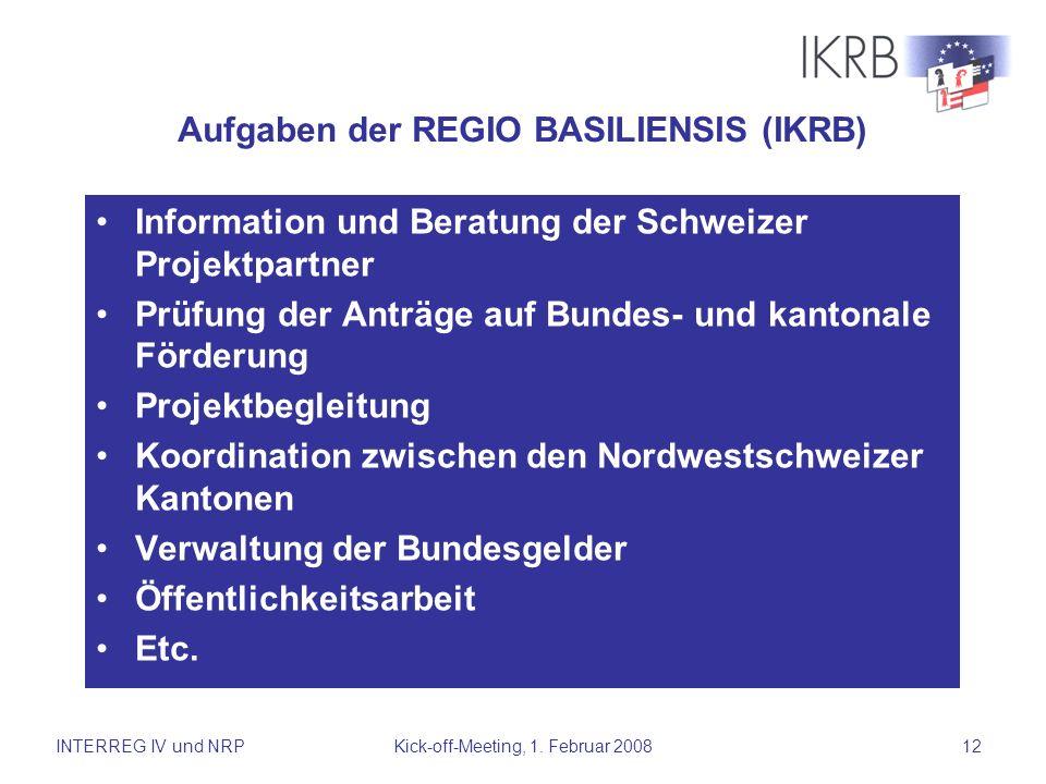 Aufgaben der REGIO BASILIENSIS (IKRB)