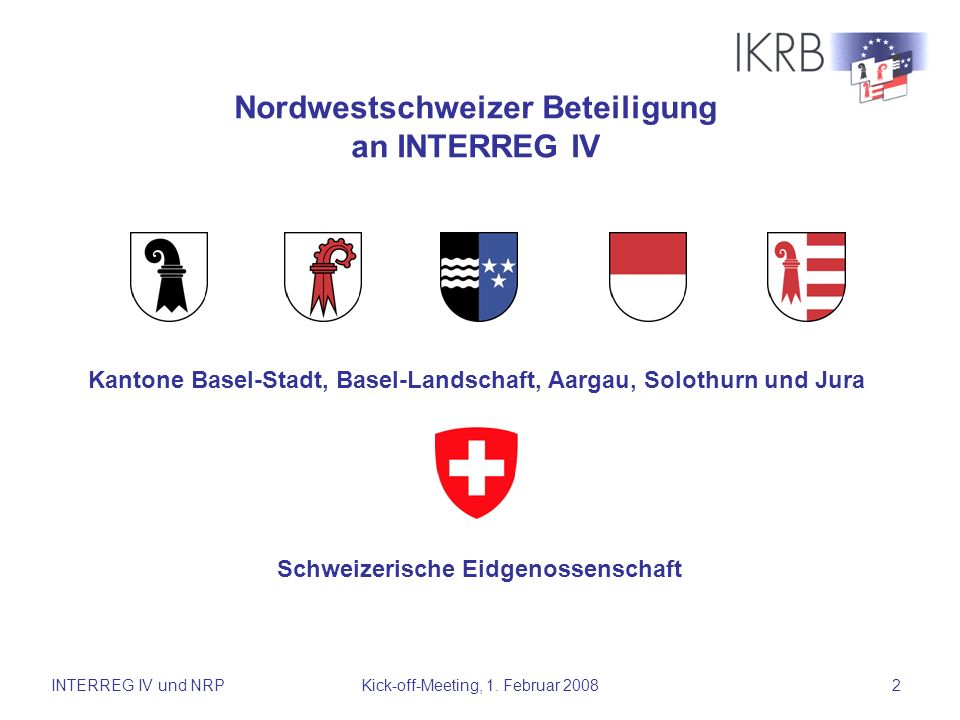 Nordwestschweizer Beteiligung an INTERREG IV