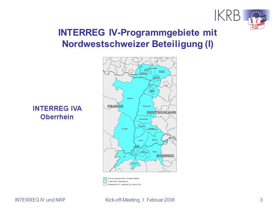 INTERREG IV-Programmgebiete mit Nordwestschweizer Beteiligung (I)