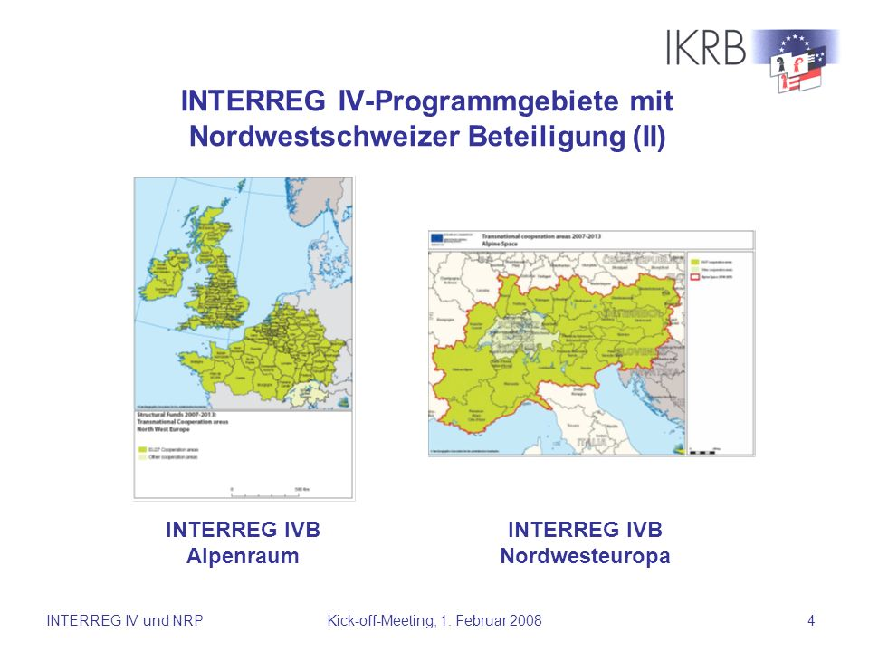 INTERREG IV-Programmgebiete mit Nordwestschweizer Beteiligung (II)