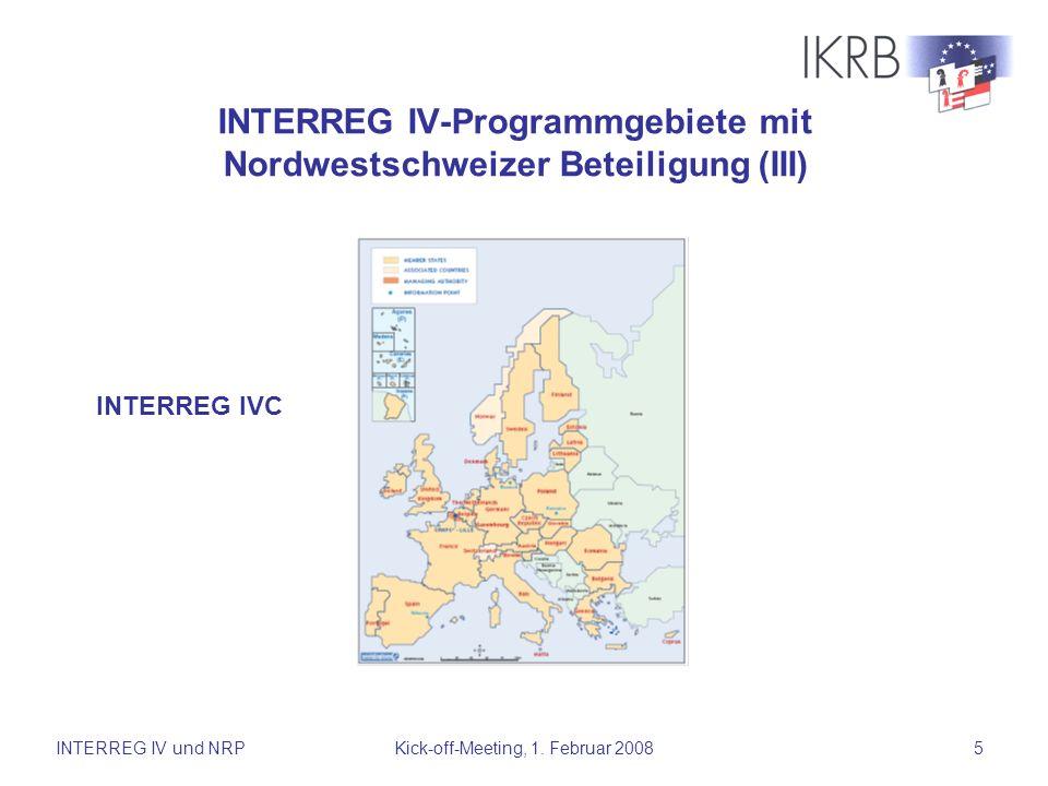 INTERREG IV-Programmgebiete mit Nordwestschweizer Beteiligung (III)