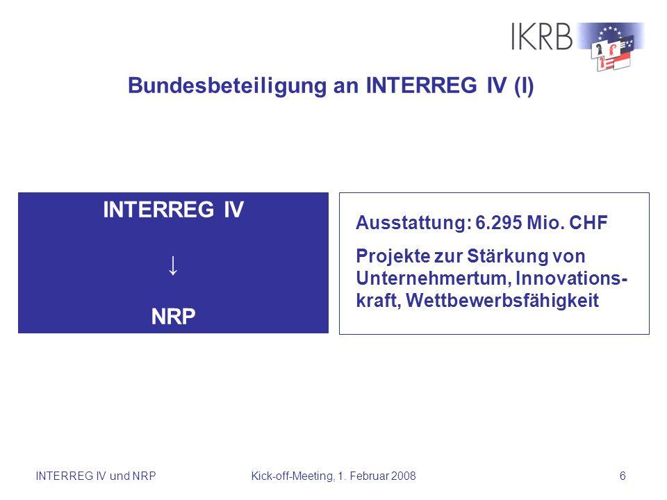 Bundesbeteiligung an INTERREG IV (I)