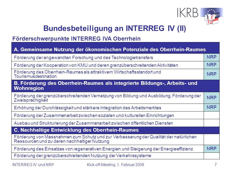 Bundesbeteiligung an INTERREG IV (II)