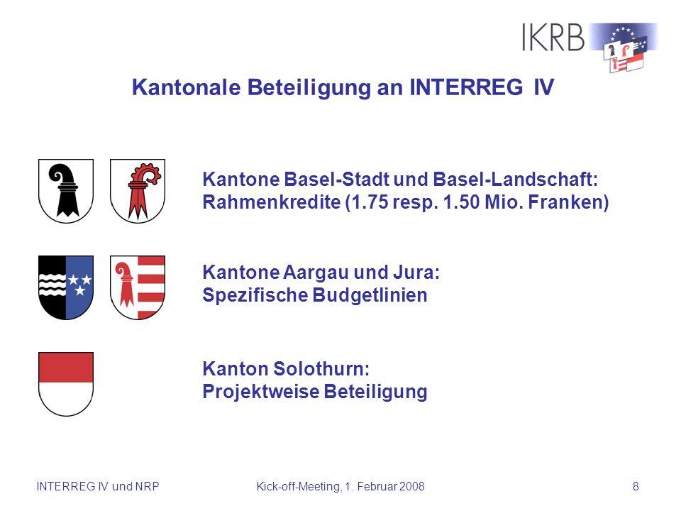Kantonale Beteiligung an INTERREG IV