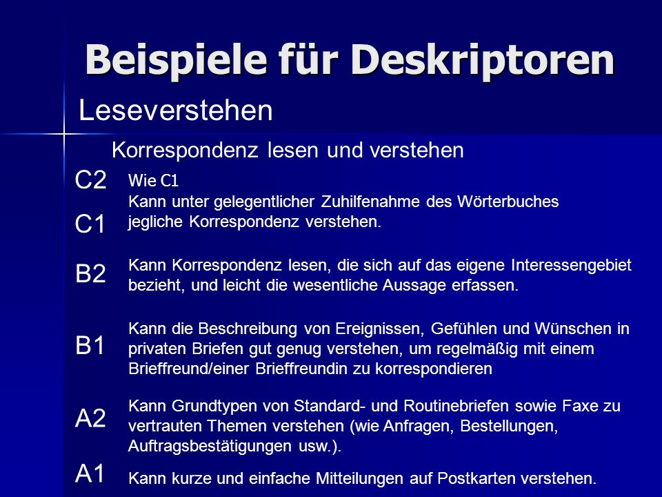 Beispiele für Deskriptoren