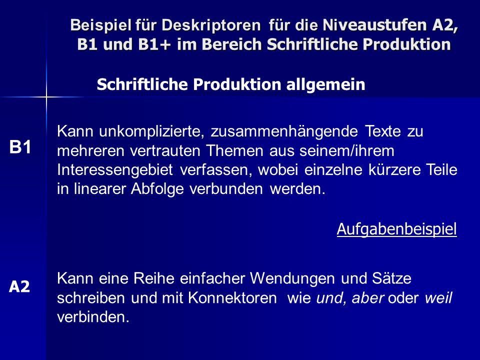 Beispiel für Deskriptoren für die Niveaustufen A2, B1 und B1+ im Bereich Schriftliche Produktion