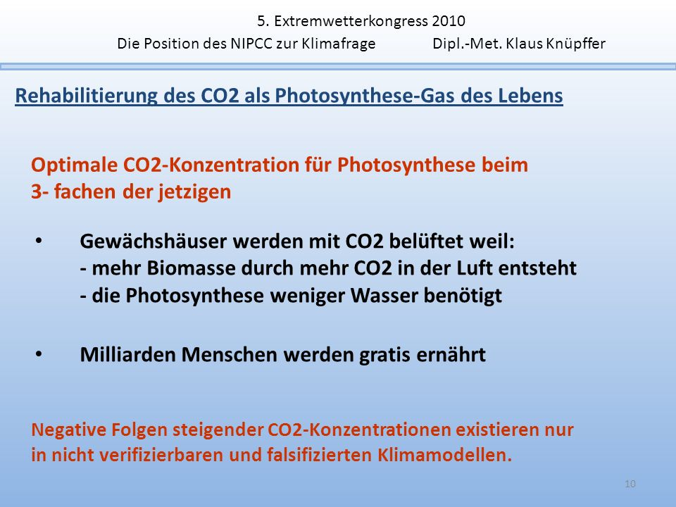 Rehabilitierung des CO2 als Photosynthese-Gas des Lebens