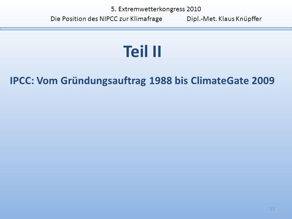 IPCC: Vom Gründungsauftrag 1988 bis ClimateGate 2009
