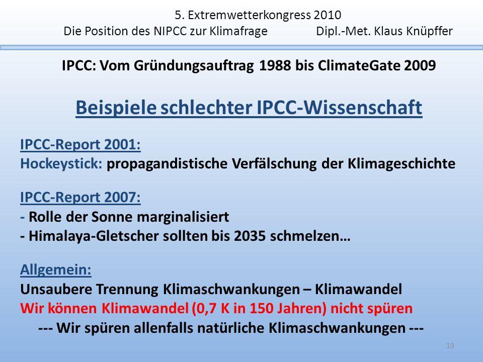 Beispiele schlechter IPCC-Wissenschaft