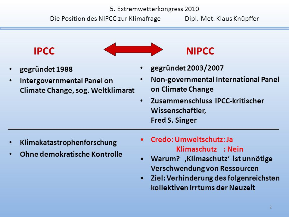IPCC NIPCC gegründet 2003/2007 gegründet 1988