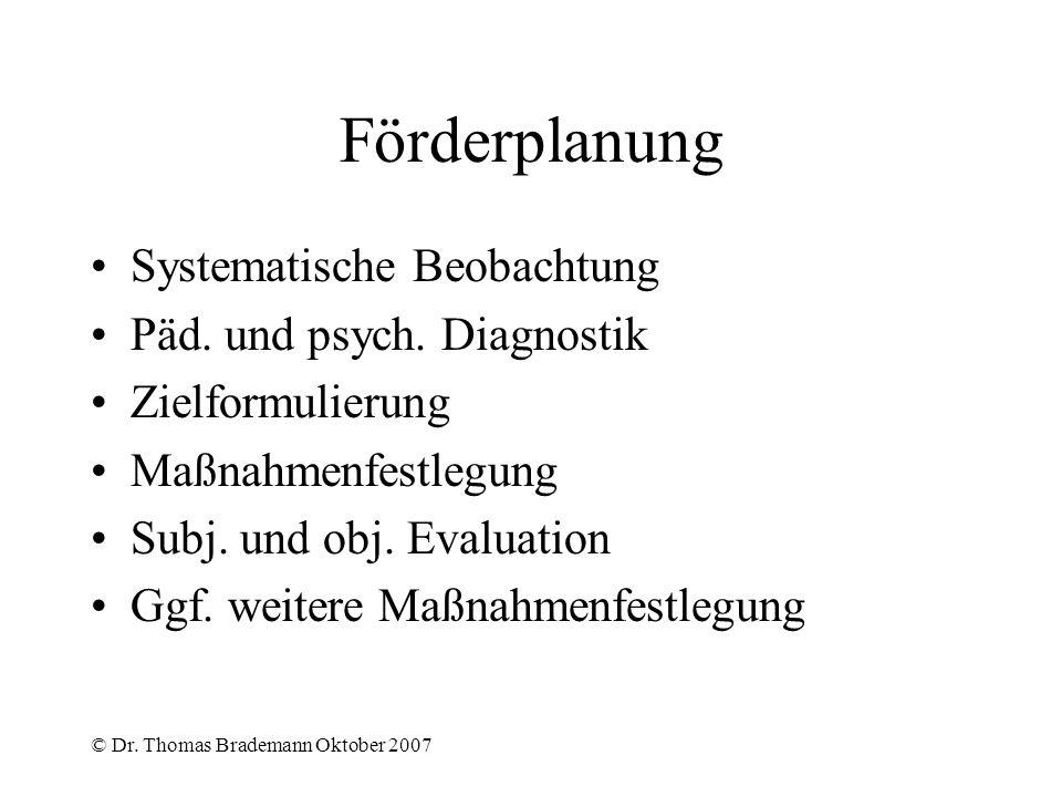 Förderplanung Systematische Beobachtung Päd. und psych. Diagnostik