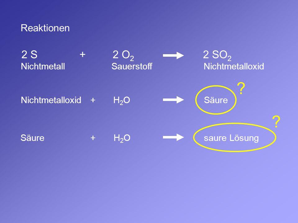 2 S + 2 O2 2 SO2 Reaktionen Nichtmetall Sauerstoff Nichtmetalloxid